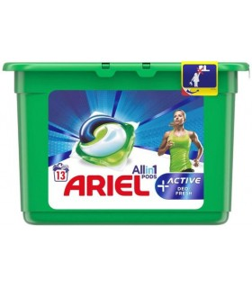 Detergent Ariel All in One Pods Plus Active, capsule, 13 buc.