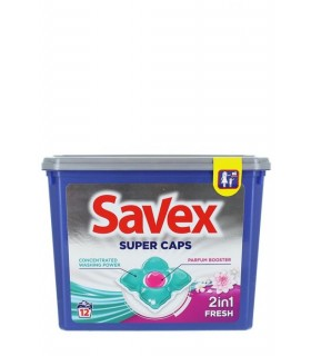 Detergent capsule SAVEX Super Caps 2in1, Fresh, 12 buc